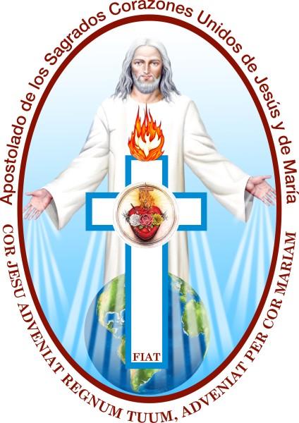 Emblema del Apostolado de los Sagrados Corazones Unidos de Jesús y María.