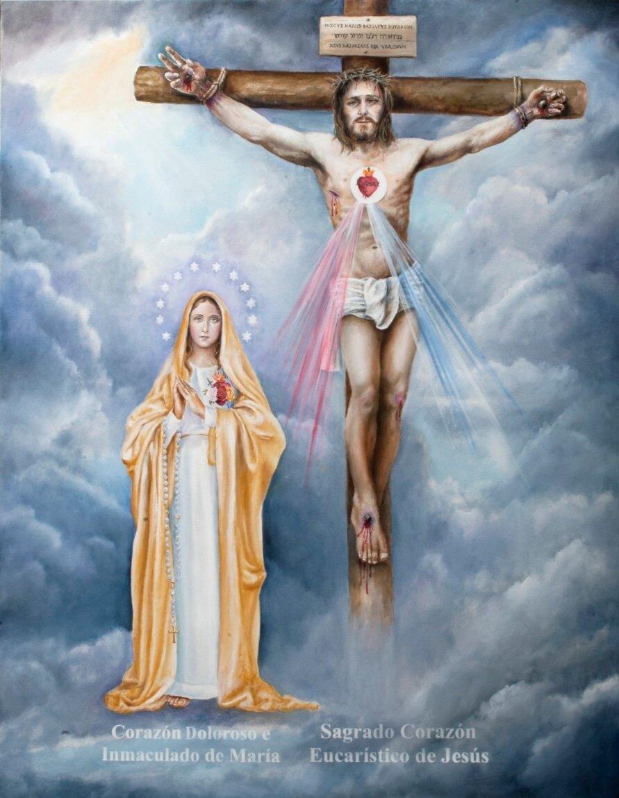 Ícono de los Sagrados Corazones Unidos de Jesús y de María