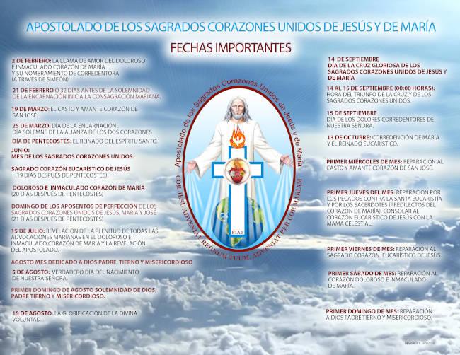 Calendario de Fechas del Apostolado de los Sagrados Corazones Unidos de Jesús y de María