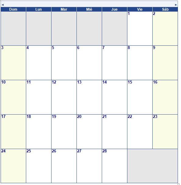 Calendario Mensual del Apostolado