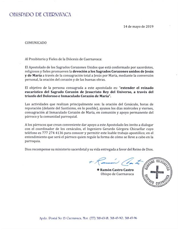 Carta Obispo Cuernavaca (México)