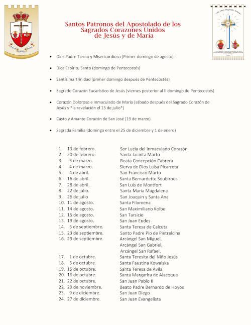Santos Patronos del Apostolado (Fechas)