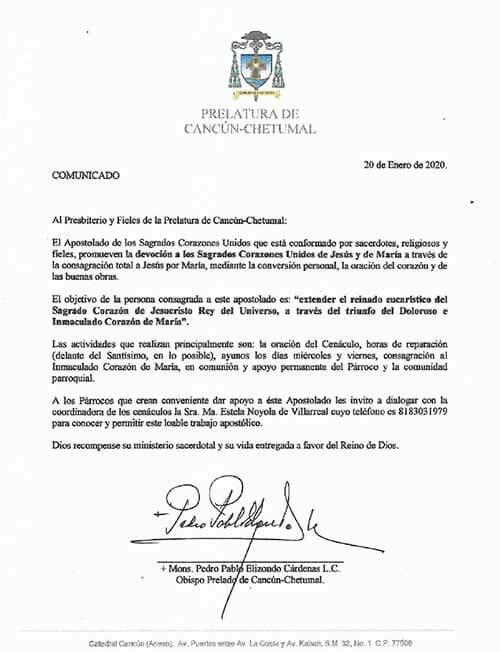 Reconocimiento del Obispo de Cancún-Chetumal (México)