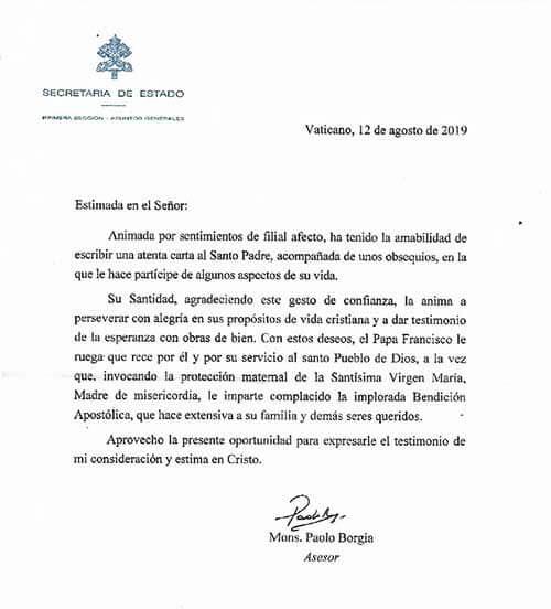 Secretaría de Estado del Vaticano (Carta de Felicitación)